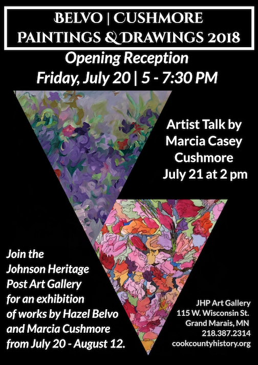 A new exhibit featuring the works of Hazel Belvo and Marcia Cushmore opens at the Johnson Heritage Post on Friday.