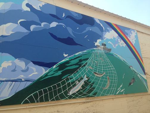 This mural on an outside wall at Birchbark Books & Gifts was the Paint-by-Number Mural project last year.
