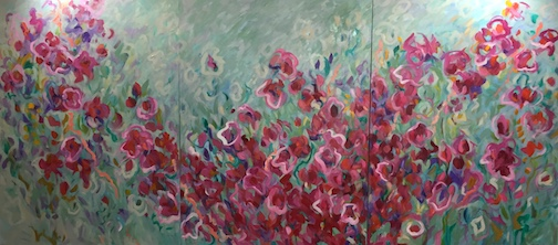 """Rose Garden,"" triptych, by Hazel Belvo, is one of many works in the Johnson Heritage Post exhibit."