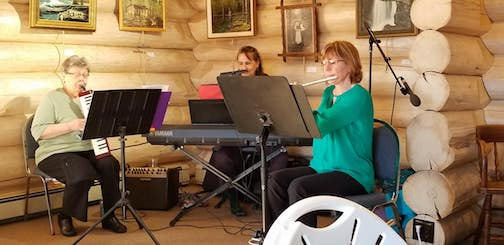 The Grace Notes played at the final stop of the Lundie Tour last week. They are, from left, Sherrie Lindskog, March Menocha and Karen Obinger.