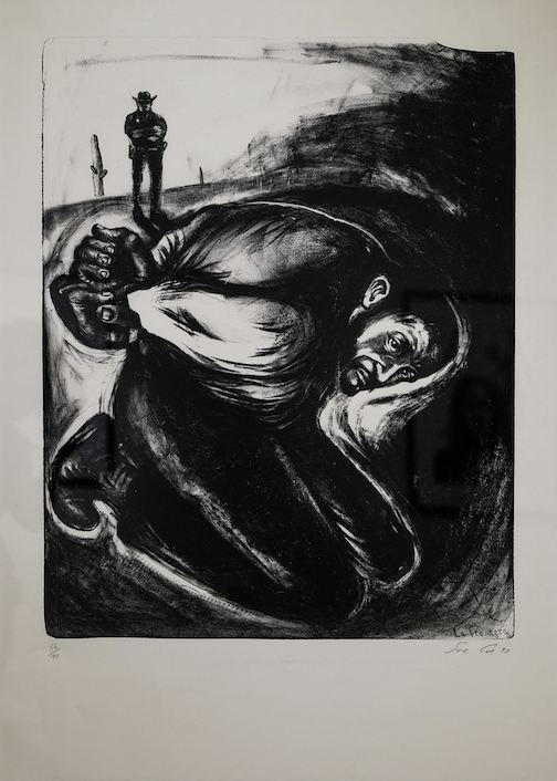 La Frontera, 1996, lithograph, by Sue Coe, is on exhibit at the Tweed Museum of Art.