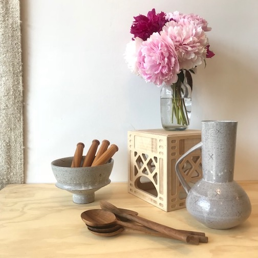 Upstate MN is featuringAdam Gruetzmacher pottery as well as Baltic birch crates by Waam Industries. Peonies courtesy of Loren Stoner.