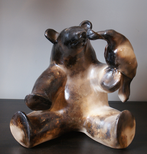 "Martye Allen's sculpture, Bear with Raven"" is one of the pieces at the Art of the Elements Gallery in rural Grand Marais."