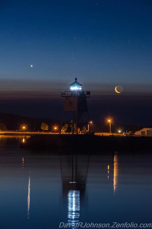 Crescent moon and Mars by David Johnson.