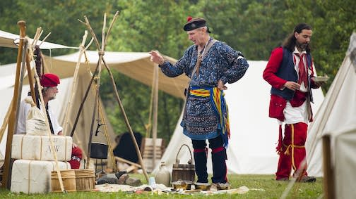 Re-enactors set up camp at the Grand Portage Monument during Rendezvous Days.