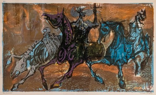 """Four Horsemen,"" print by Dean Meeker is at the Tweed Museum of Art."