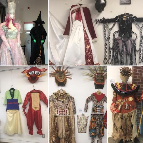 Costumes created by Patsy and Beth are on display at the Baggage Building Arts Center as a tribute to them.