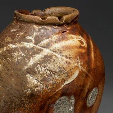 Wood-fire pot by Dick Cooter. He will feature a number of regional potters at his studio this weekend.