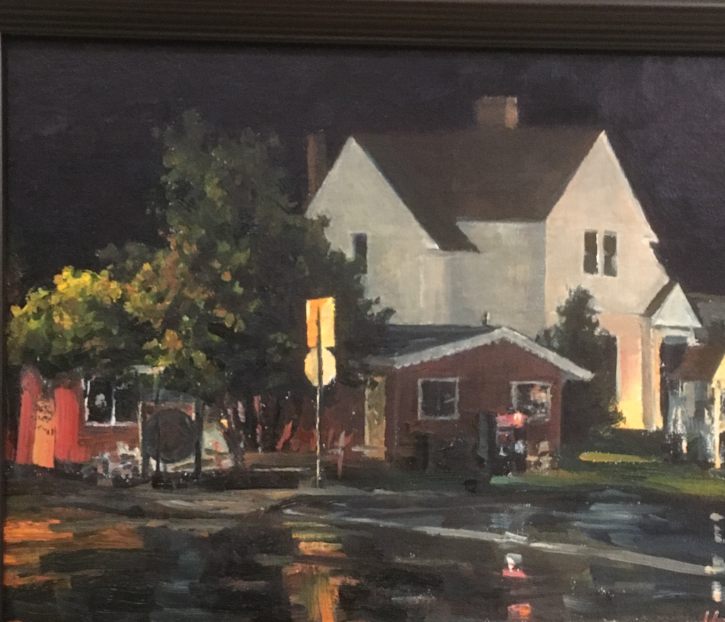 """Light Keeper's Place"" by Hannah Heyer won the Night Paint award during Grand Marais Plein Air."