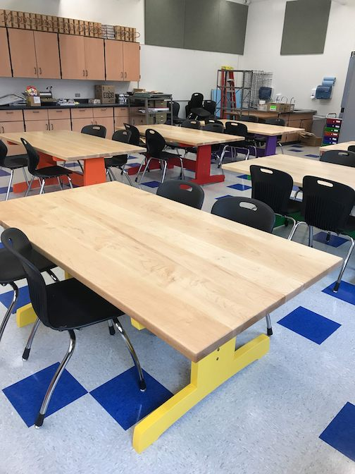 Jim Sannerud built these great tables for Mila Horak's art room at ISD 166.