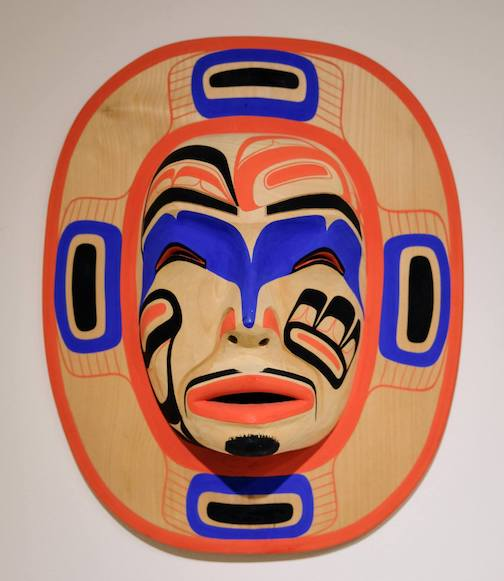 Moon Mask by Patrick Amos Nuu Chah Nulth is part of the Pacific Northwest Native Art Exhibit at the Tweed Museum of Art.