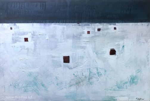 """Ice Houses"" by Kim Dayton is at in the studio gallery at Yellow Bird Fine Art."