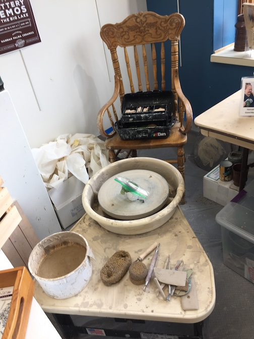 Potter Hannah Laky is giving throwing demos at the Big Lake from 11 a.m. to 4 p.m. on Friday through Sunday. This is her pottery corner in the shop.