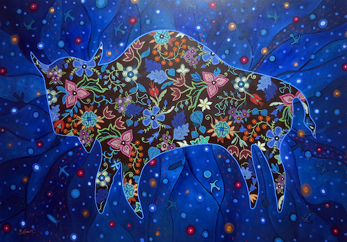 """""""The Earth is My Government"""" by Christi Belcourt, is at the Thunder Bay Art Gallery."""