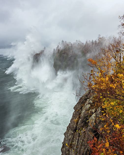 Split Rock Lighthouse is 54 foot high and sits on top of a 130-foot cliff over Lake Superior.  Today waves on the open lake reaching 20 feet made their way to the North Shore and pound into the cliff and spray 190 feet into the air!  I would say WOW mother nature! Christian Dalbec.