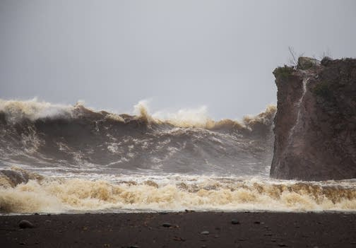 Wind gusts as high as 86 miles per hour were measured near Castle Danger, Minn. according to the National Weather Service Duluth office. Hurricane force winds start at 74 miles per hour. Photo by Derek Montgomery for MPR News.