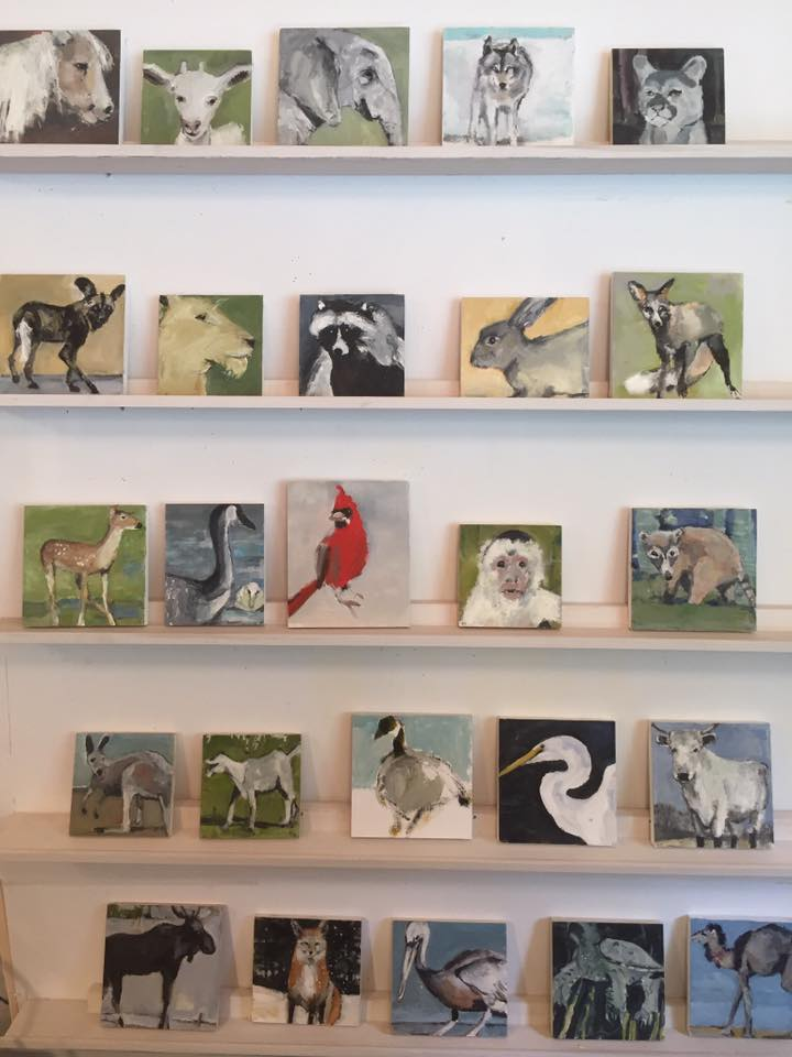 Painter Jeanne Hedstrom is exhibiting her work at her studio, including this great small creature prints.