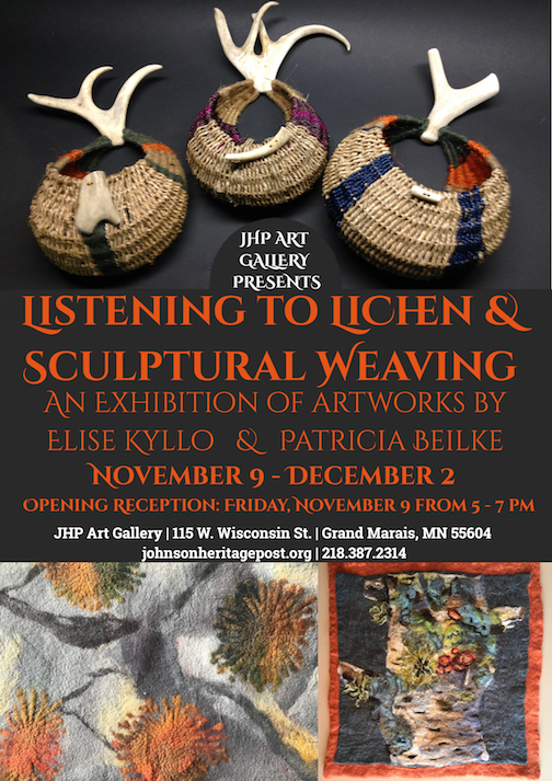Listening to Lichen and Sculptural Weaving opens at the Johnson Heritage Post Nov. 9.
