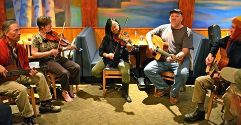 Jamming at the North Shore Music Associations Bluegrass Master's Weekend.