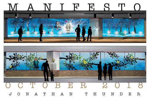 "Jonathon Thunder's animated installation, ""Manifest O"" is at the Tweed Museum of Art."