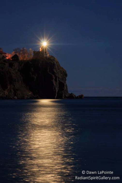 Lighting the beacon at Split Rock Light House Nov. 10. Photo by Dawn LaPointe.