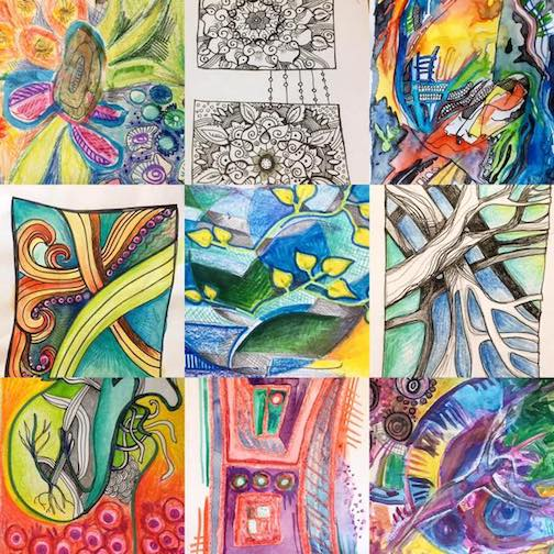 Holly Johnson Beaster is exhibiting the drawings she did for the 100-Day Project last year at the Pilgrim Congregational church in Duluth.