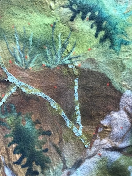 "Felted painting by Elise Kyllo in her exhibit ""Listening to Lichen."""