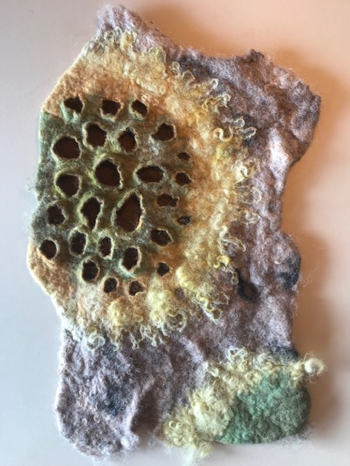 A felted lichen piece by Elise Kyllo, one of many intriguing and often playful shapes crafted by this artist.