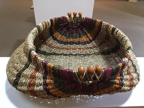 A basket by Patricia Bielke on view at the Heritage Post.