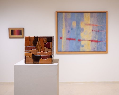 "A George Morrison wooden sculpture is in the ""Intersections"" show at the Tweed Museum of Art."