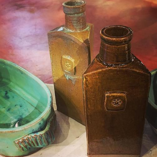 Bottles by Bob LaMettry are at the Betsy Bowen Studio.