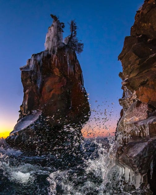 Morning stack at Tettegouche State Park by Christian Dalbec.