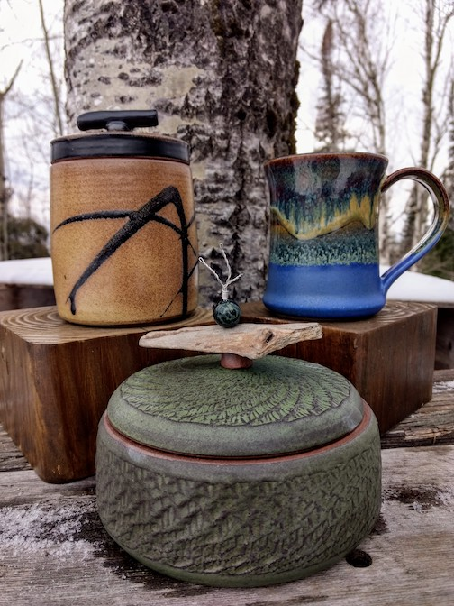 Natalie Sobanja's mugs and lidded jars.