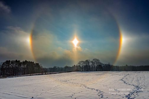Sun dogs in Wisconsin by Susanne Von Schroeder.
