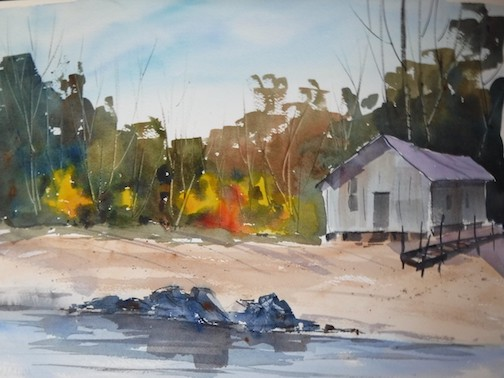 Painting by Dennis Murnyak. He is exhibiting his watercolors at Tettegouche State Park.