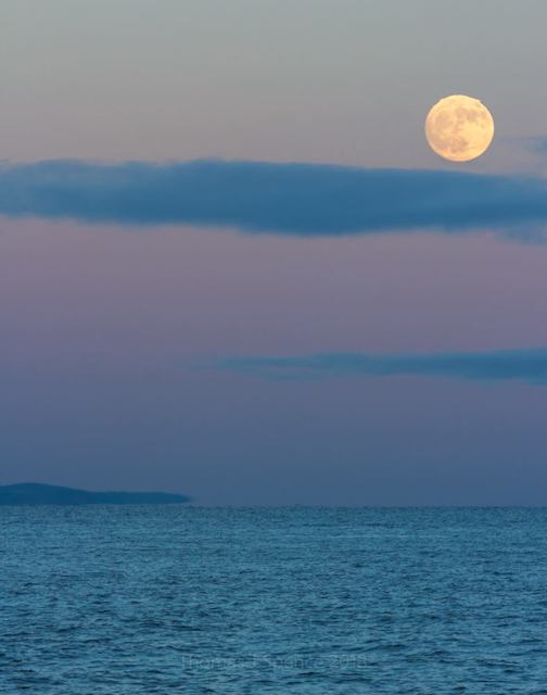 Solstice moon rise over Lake Superior, by Tom Spence.