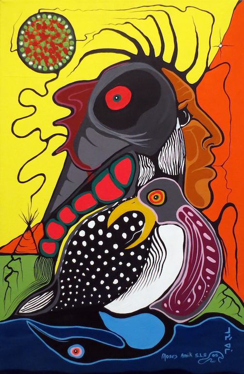 Lament of the Loon by Moses Amik Beaver is on exhibit at the Thunder Bay Art Gallery.