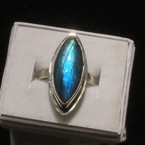 This labradorite ring by Ron Piercy is at Yellow Bird Fine Art.