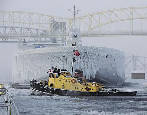 The Shipping season is nearly at the end. Photo in Business North by Carment Paris, Corps of Engineers, Soo Locks.