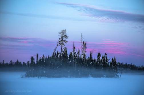 Sunset on a foggy Gunflint lake by Ann I Karrick.