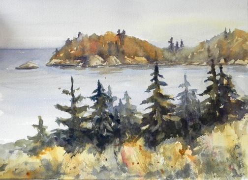 """Beaver Bay Point,"" watercolor, by Sandy Maxwell."