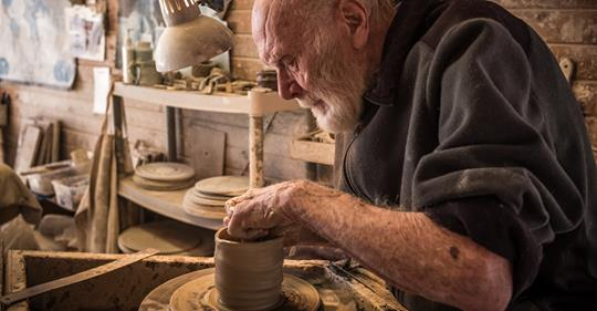 Warren MacKenzie working on a pot in his studio in Stillwater. He was 94 when this photo was taken. Photo by Jay Goldmark @ Goldmarket.com