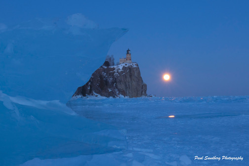 Snow Moon at Split Rock by Paul Sundberg.