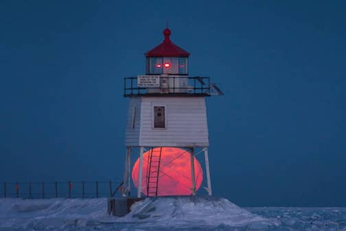 Snow Moon at the Two Harbors Lighthouse.