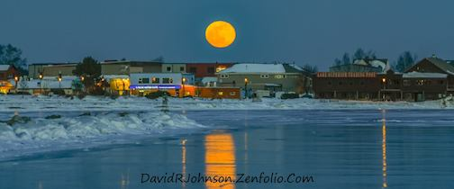 Super Moon over Grand Marais by David Johnson