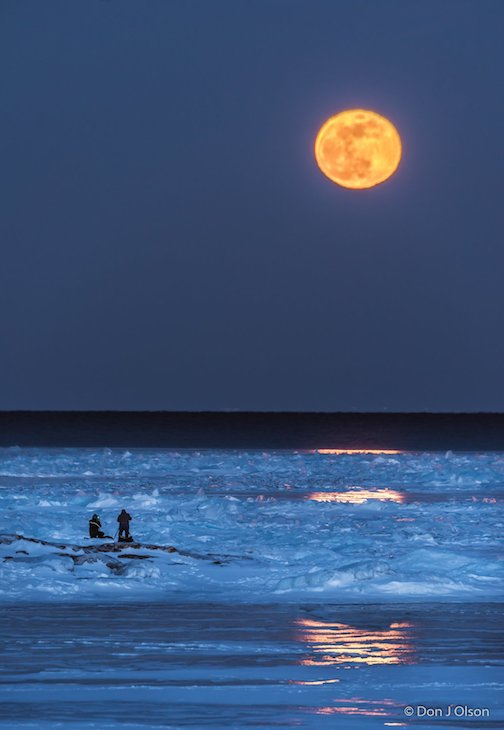 Shooting the moon at Split Rock Lighthouse by Donald Jay Olson.