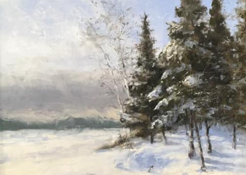 """Traces of Blue""by Rober Hagberg, is one of the paintings in the Winter Plein Air exhibit."