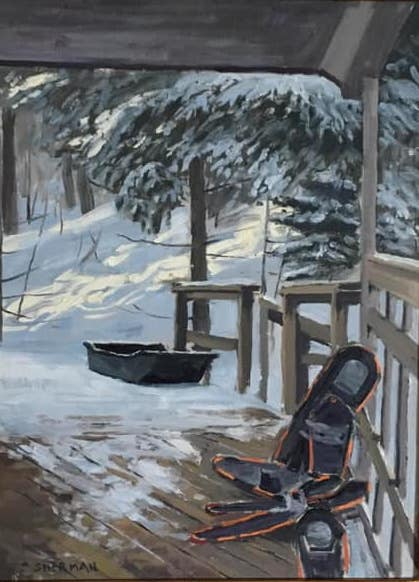 """Winter Transportation"" by Neil Sherman, oil, is one of the paintings at the Johnson Heritage Post."