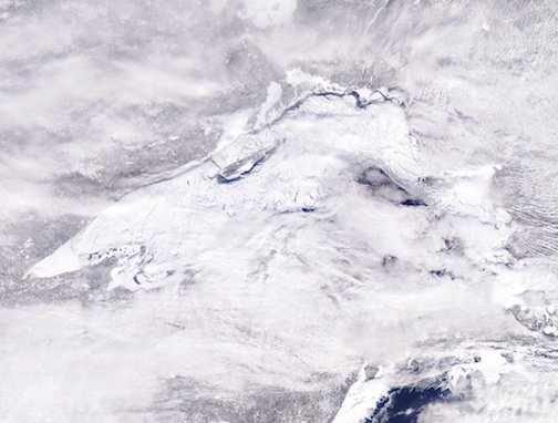 Last week, Lake Superior is 82% covered by ice, according to NOAA.