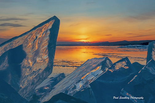 Ice shards at sunset by Paul Sundberg.